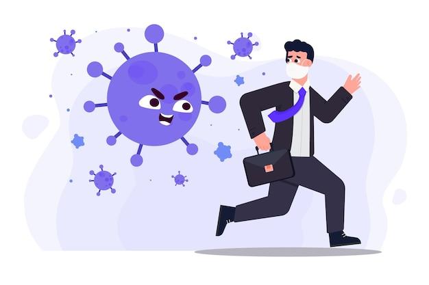 Ilustrowany mężczyzna uciekający przed cząstkami koronawirusa