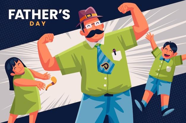 Ilustrowany motyw dnia ojca