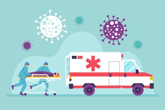 Ilustrowany pacjent noszony przez lekarzy pogotowia ratunkowego