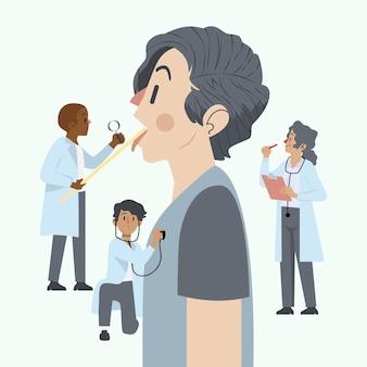 Ilustrowany pacjent przechodzący badanie lekarskie