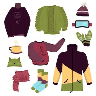 Ilustrowany pakiet zimowych ubrań