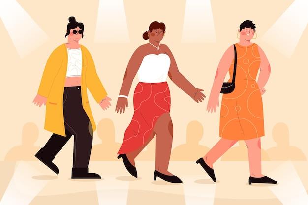 Ilustrowany pas startowy pokazu mody ręcznie rysowane