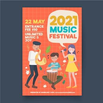 Ilustrowany plakat festiwalu muzycznego