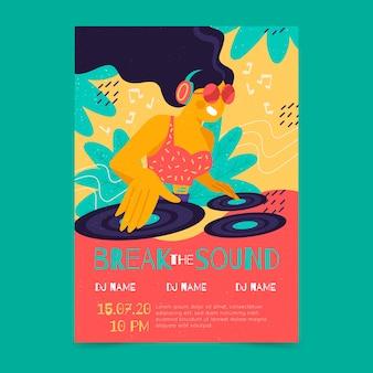 Ilustrowany plakat muzyczny z dziewczyną dj