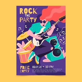Ilustrowany plakat muzyczny z dziewczyną grającą na gitarze