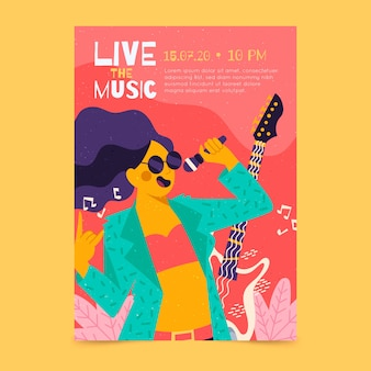 Ilustrowany plakat muzyczny ze śpiewem dziewczyny