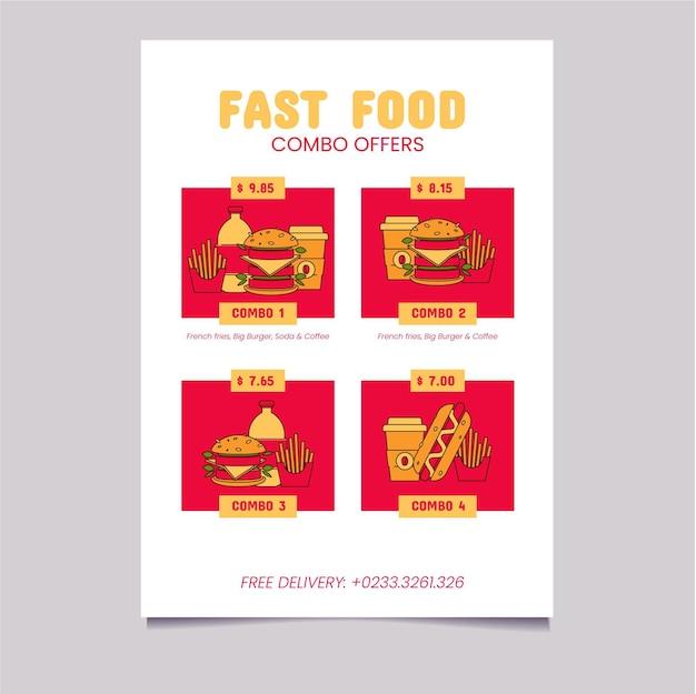 Ilustrowany plakat z ofertą posiłków combo