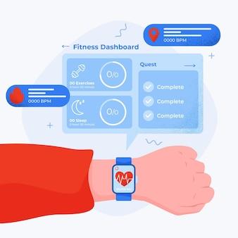 Ilustrowany płaski monitor fitness