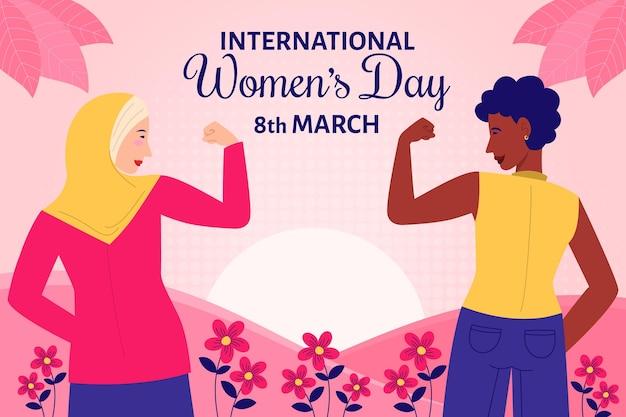 Ilustrowany płaski projekt międzynarodowy dzień kobiet