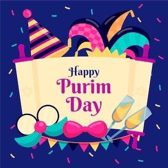 Ilustrowany płaski projekt szczęśliwy dzień purim
