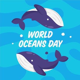 Ilustrowany płaski światowy dzień oceanów