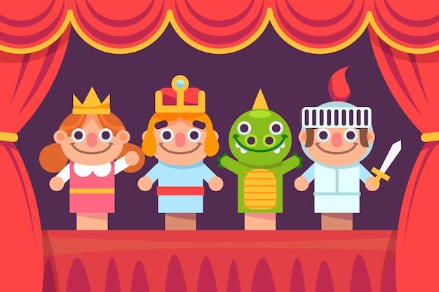 Ilustrowany pokaz lalek na tle dzieci