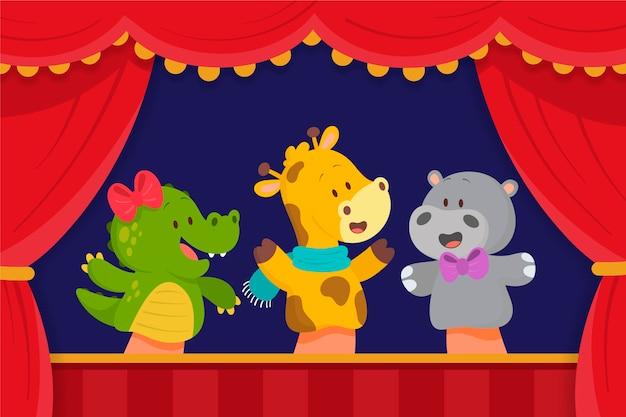 Ilustrowany Pokaz Lalek Na Tle Dzieci Darmowych Wektorów