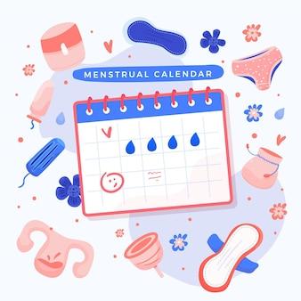Ilustrowany projekt kalendarza menstruacyjnego
