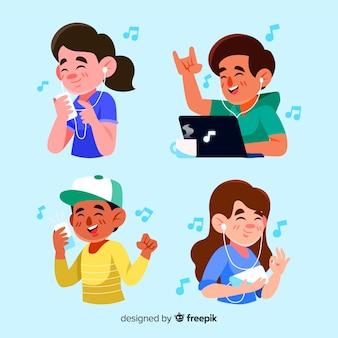 Ilustrowany projekt z ludźmi słuchającymi muzyki