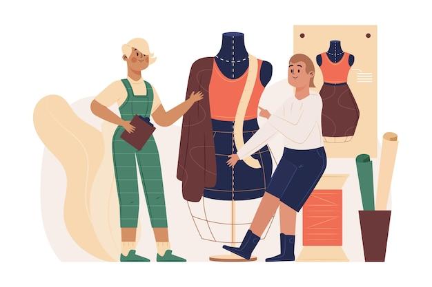 Ilustrowany projektant mody ręcznie rysowane