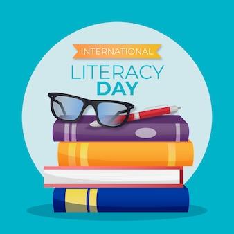 Ilustrowany realistyczny międzynarodowy dzień alfabetyzacji