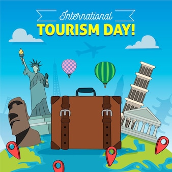 Ilustrowany ręcznie rysowany dzień turystyki