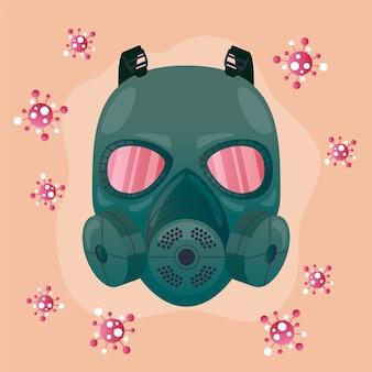 Ilustrowany respirator z maską gazową