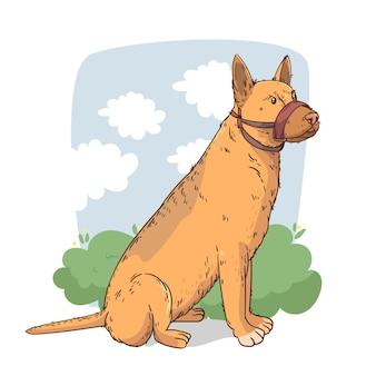 Ilustrowany rysunek psa w kagańcu