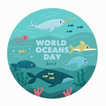 Ilustrowany rysunek światowego dnia oceanów