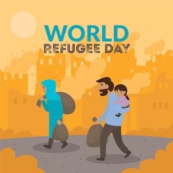 Ilustrowany rysunek światowego dnia uchodźcy