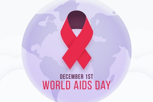Ilustrowany symbol czerwonej wstążki na dzień aids
