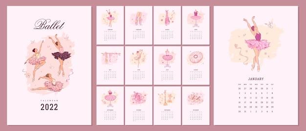 Ilustrowany szablon kalendarza 2022 z ręcznie rysowanymi elementami szkoły baletowej