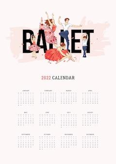 Ilustrowany szablon kalendarza 2022 z ręcznie rysowanymi tancerzami baletowymi