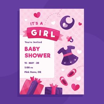 Ilustrowany szablon karty baby shower dla dziewczynki