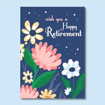 Ilustrowany szablon karty z pozdrowieniami płaskiej emerytury