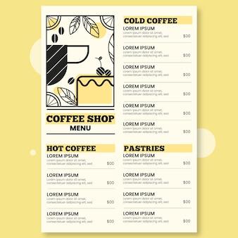Ilustrowany szablon menu cyfrowej restauracji