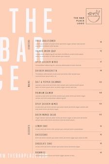 Ilustrowany szablon menu żywności restauracji do użytku cyfrowego