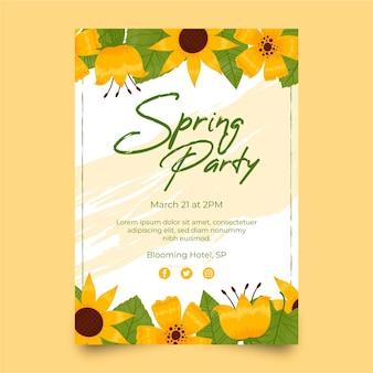 Ilustrowany szablon plakat party wiosna