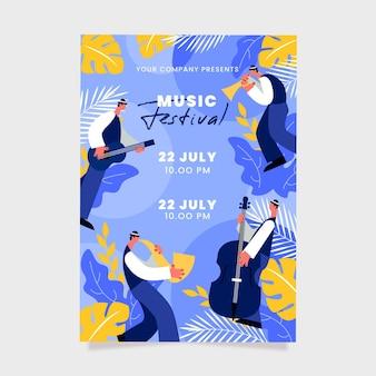 Ilustrowany szablon plakatu festiwalu muzyki