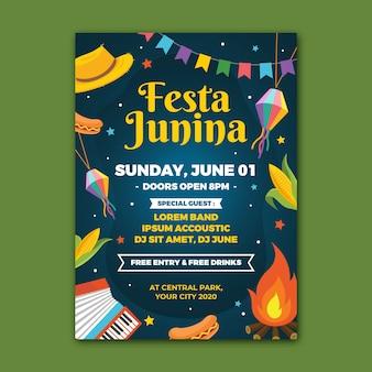 Ilustrowany szablon plakatu płaski festa junina