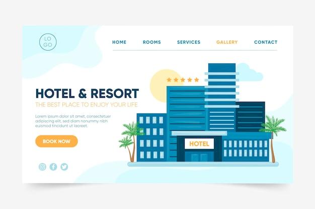 Ilustrowany szablon strony docelowej hotelu