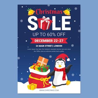 Ilustrowany szablon świątecznego plakatu do sprzedaży