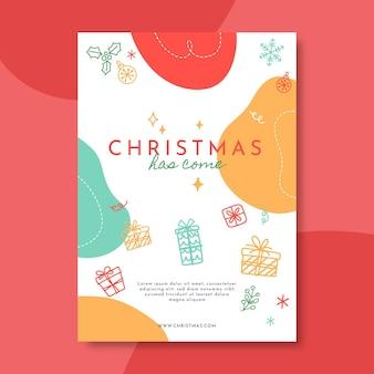 Ilustrowany szablon świąteczny plakat świąteczny