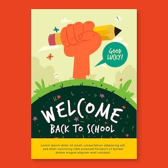 Ilustrowany szablon ulotki a5 z powrotem do szkoły