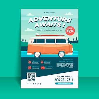 Ilustrowany szablon ulotki sprzedaży podróży