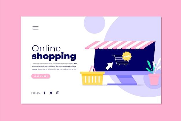 Ilustrowany szablon zakupów online strony docelowej