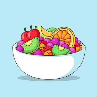 Ilustrowany talerz owoców i sałatek
