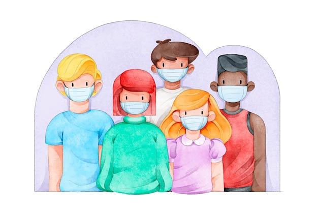 Ilustrowany tłum ludzi noszących maski medyczne