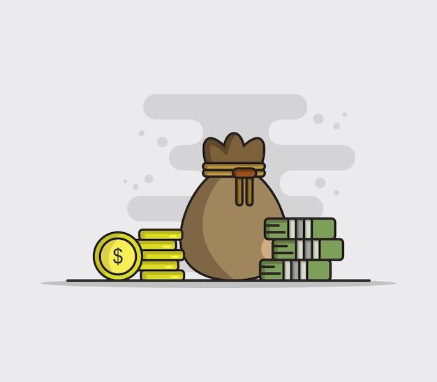 Ilustrowany worek pieniędzy