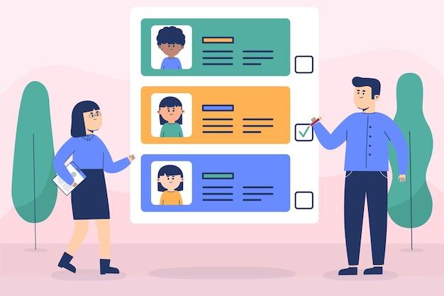 Ilustrowany wybór koncepcji pracownika