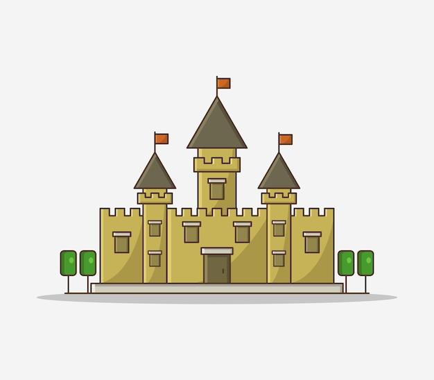 Ilustrowany zamek kreskówka