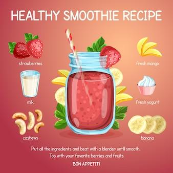Ilustrowany zdrowy przepis na smoothie