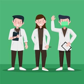 Ilustrowany zespół pracowników służby zdrowia
