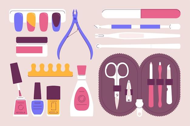 Ilustrowany zestaw narzędzi do manicure